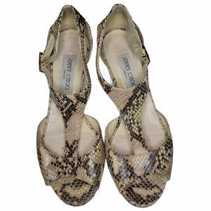 Jimmy Choo snakeskin sandals low heel size 38.5